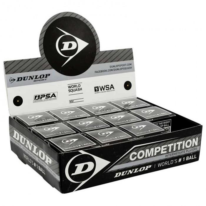 [해외]던롭 Competition Single Grey Dot Squash Balls Box 12136002256 Black