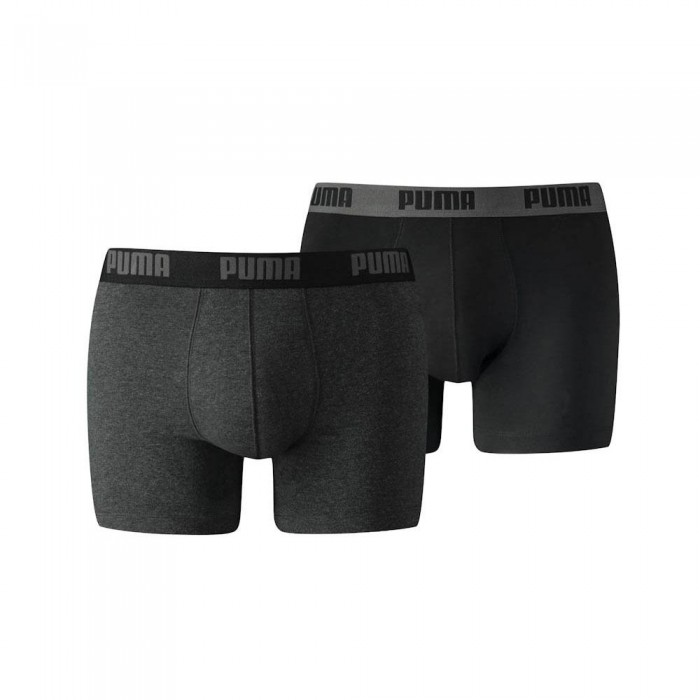 [해외]푸마 Basic Boxer 2 Pack 12136567227 Dark Grey Melange / Black