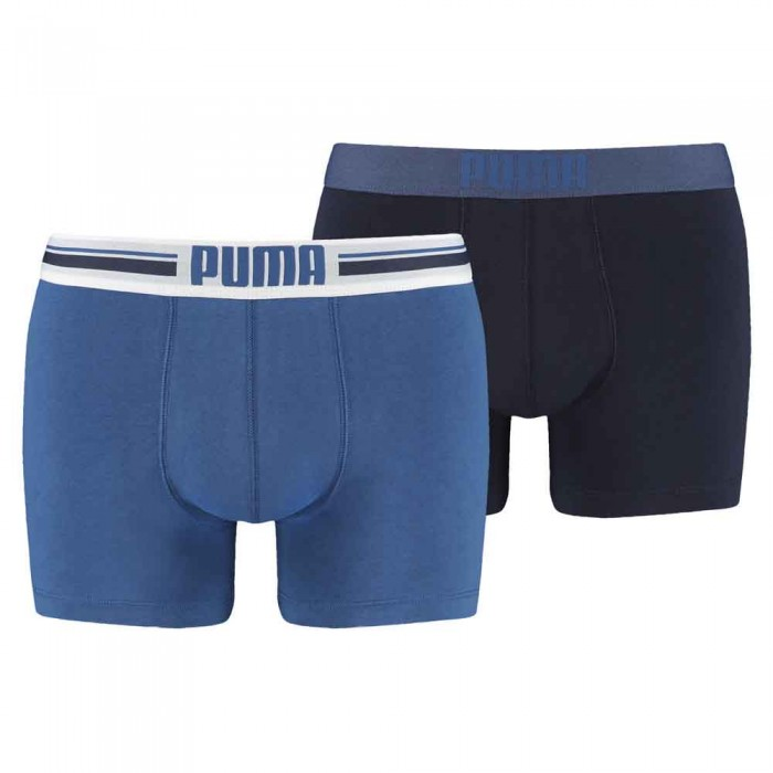 [해외]푸마 Placed Logo Boxer 2 Pack 12136567323 Blue