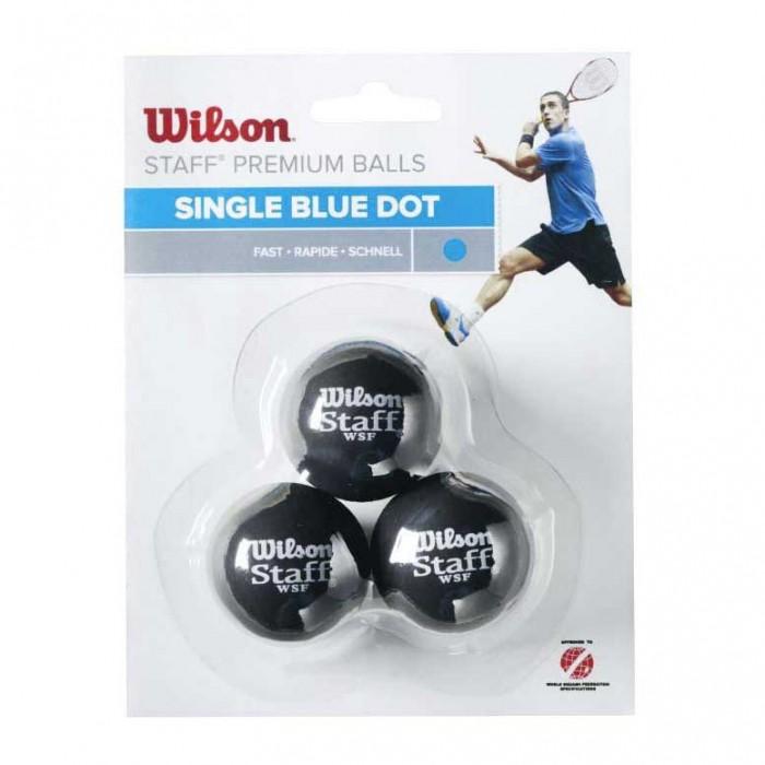 [해외]윌슨 Staff Fast Single Blue Dot Squash Balls 121234917 Black