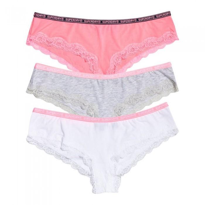 [해외]슈퍼드라이 Lolalace Brief Triple 팩 Pink Grey Marl White
