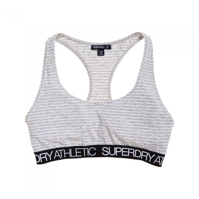 [해외]슈퍼드라이 Athletic Bralet Grey Marl / White Stripe