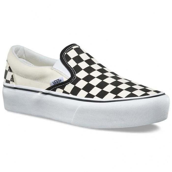 [해외]반스 UA 클래스ic Slip On Platform Black And White Checker / White