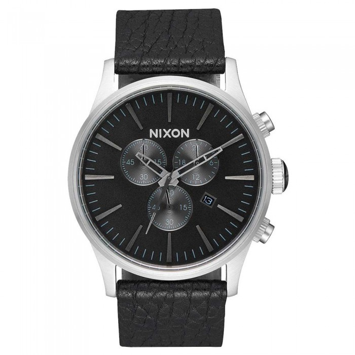 [해외]닉슨 Sentry Chrono Leather Watch Black / Gunmetal / Black