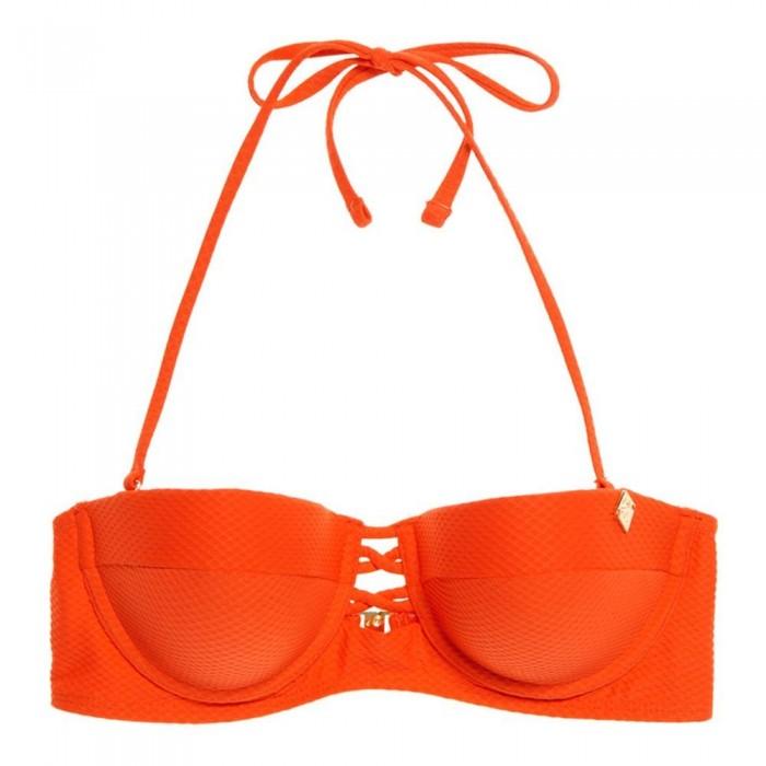 [해외]슈퍼드라이 Sophia Textured Cup Bikini Top Flamingo Orange