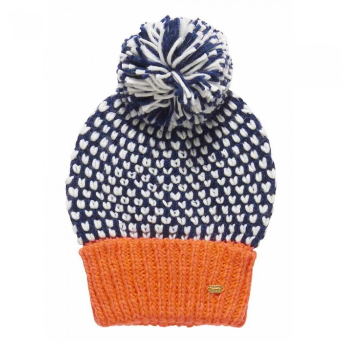 [해외]슈퍼드라이 Spot 팝 Colour Beanie Navy / Fluro Coral Pop