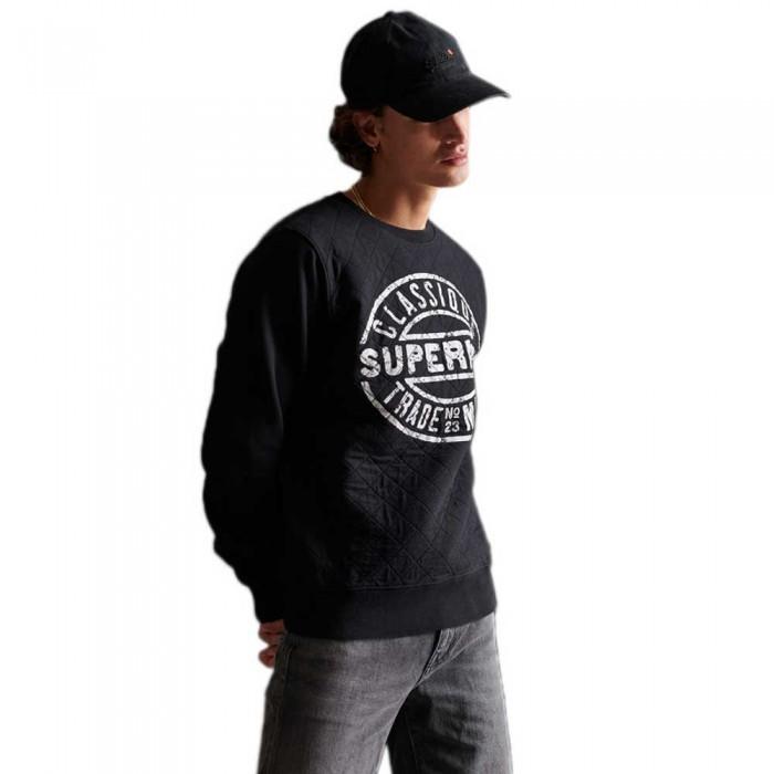 [해외]슈퍼드라이 Workwear 퀄티드 크루 Black