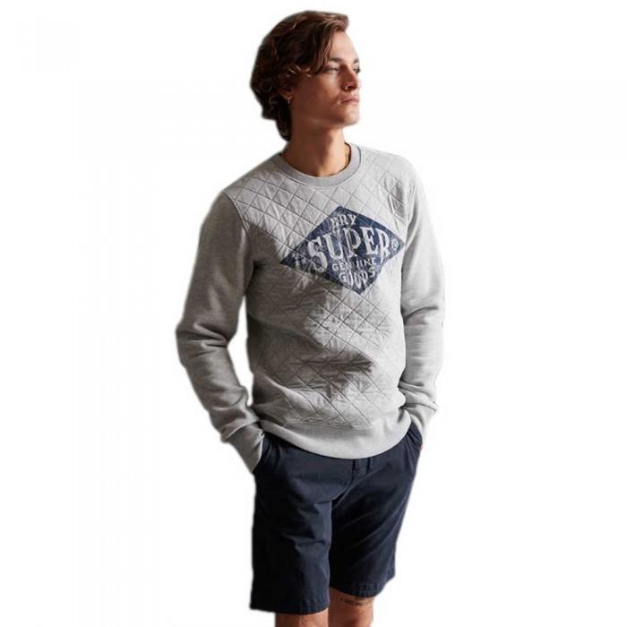 [해외]슈퍼드라이 Workwear 퀄티드 크루 Grey Marl