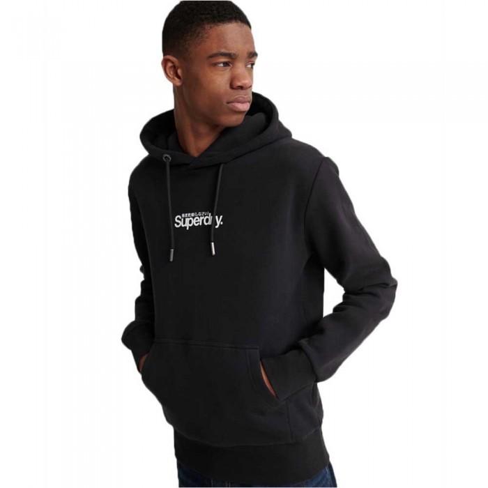 [해외]슈퍼드라이 코어 로고 에센셜 브러시백 Black / Black