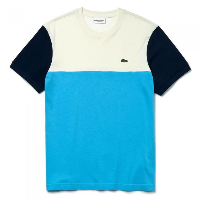 [해외]라코스테 컬러블락 크루 넥 Light Blue / White / Navy Blue