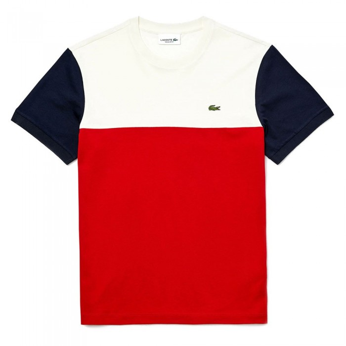 [해외]라코스테 컬러블락 크루 넥 Red / White / Navy Blue
