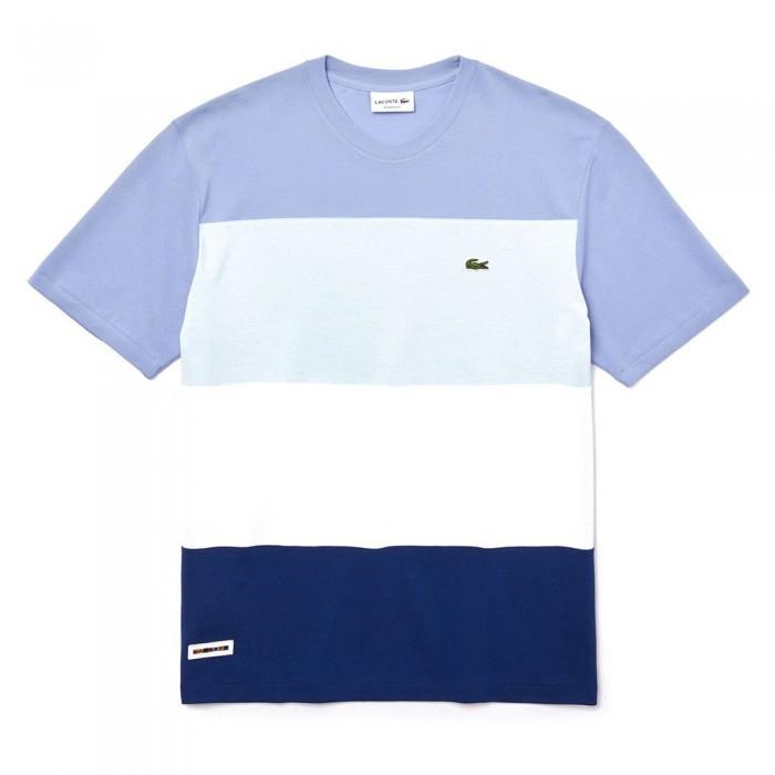 [해외]라코스테 컬러블락 스트라이프d Piqu? Navy Blue / White / Light Blue / Purple