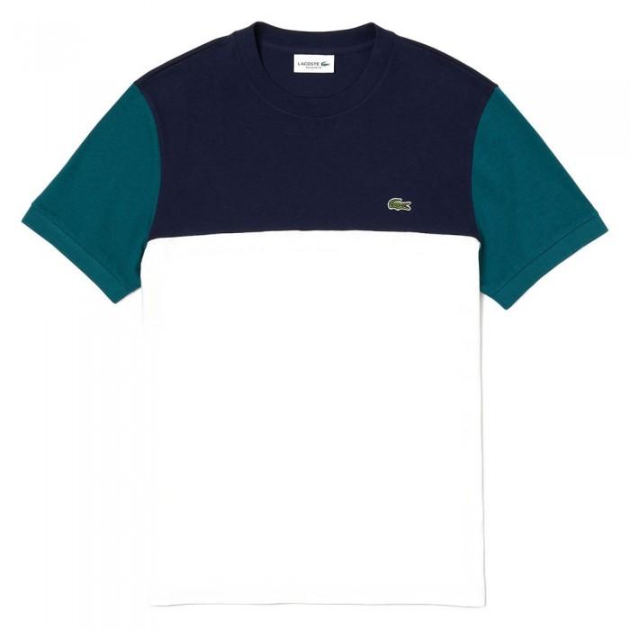 [해외]라코스테 컬러블락 크루 넥 White / Navy Blue / Green