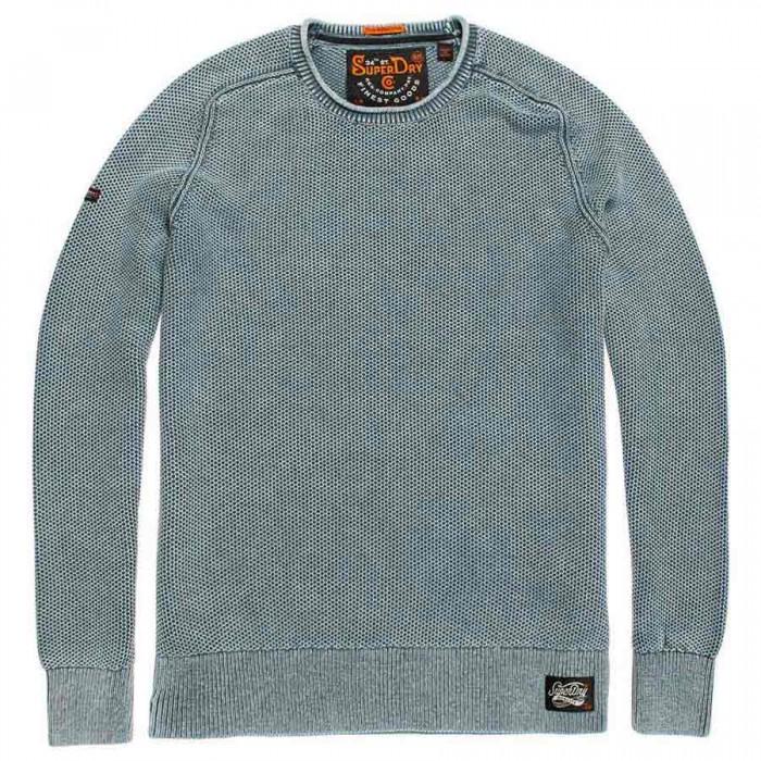 [해외]슈퍼드라이 Garment 다이d L.A.텍스처드 크루 Washed Cloud Blue