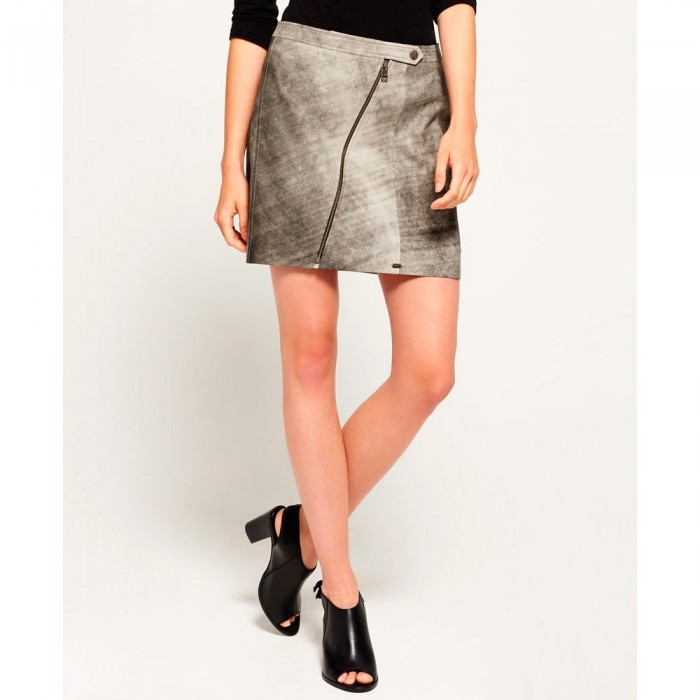 [해외]슈퍼드라이 Distressed 레더 Biker Skirt Empire Grey