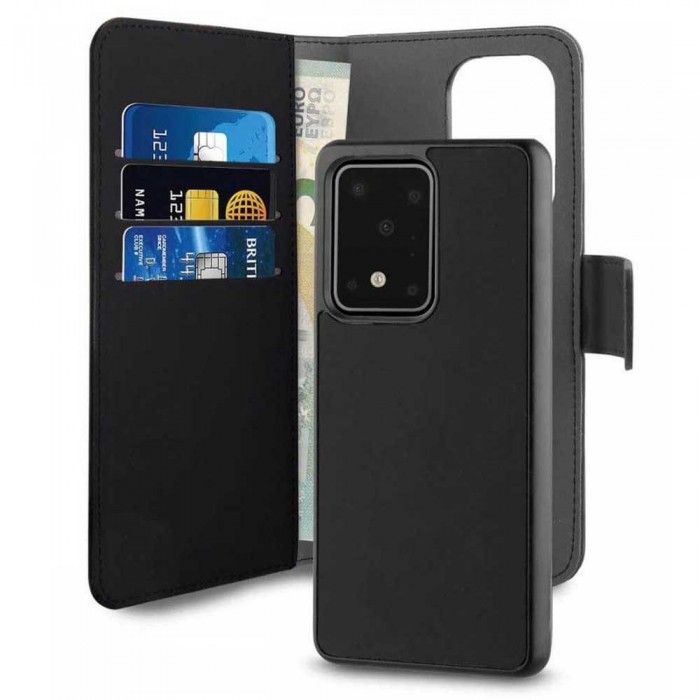 [해외]PURO 레더 Wallet Detachable Samsung Galaxy S20 울트라 Black