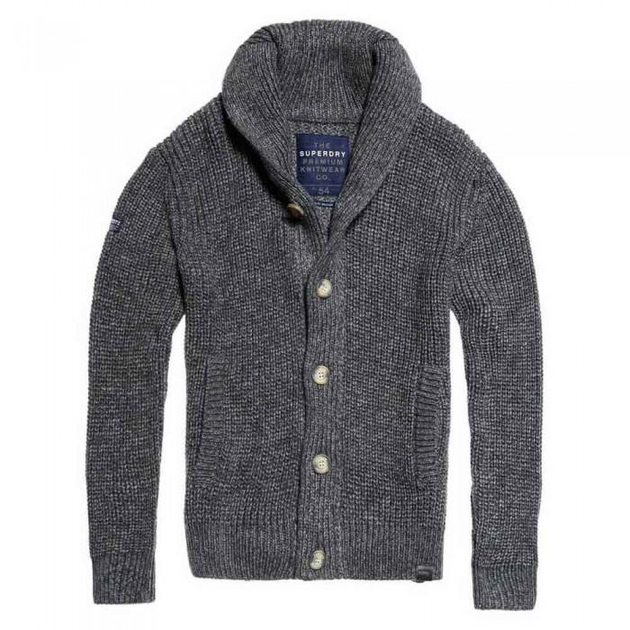 [해외]슈퍼드라이 Jacob Shawl Cardigan Tweed Grey Twist