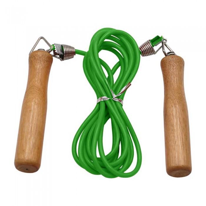 [해외]SOFTEE PVC Skipping Rope 위드 Wooden H앤드le Green