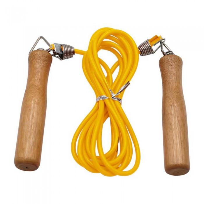 [해외]SOFTEE PVC Skipping Rope 위드 Wooden H앤드le Yellow