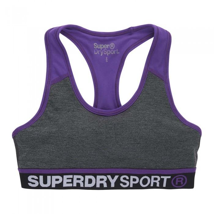[해외]슈퍼드라이 짐 패널 스포츠s Bra Charcoal Grit / Fluro Purple