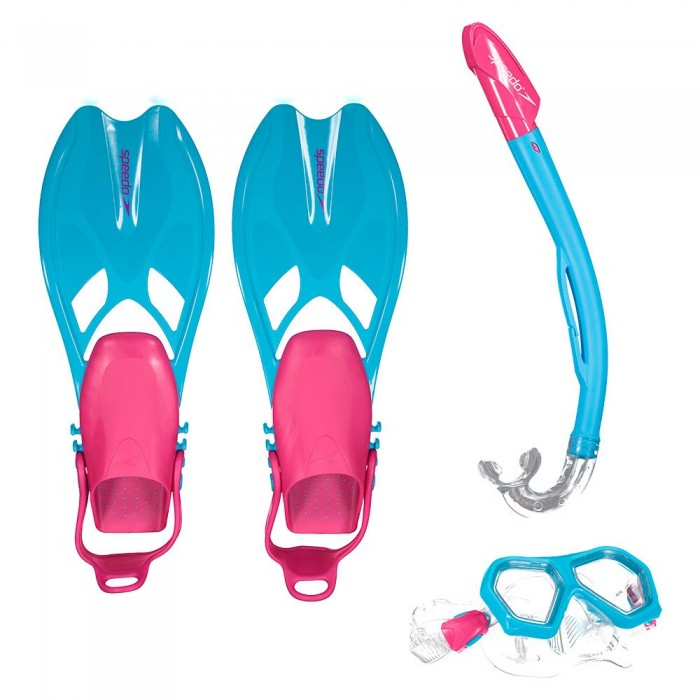 [해외]스피도 Leisure Dual Lenses Mask++Tube+Fins 6137435875 Aqua Splash/Ultra Pink