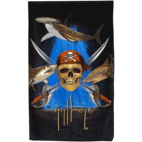 [해외]GUY HARVEY Pirate Shark Towel 603218 Black
