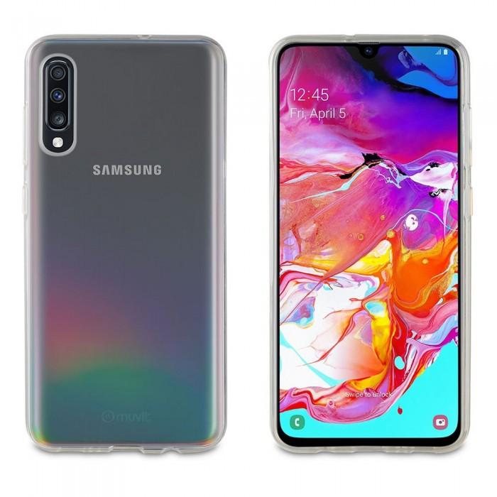 [해외]MUVIT Cristal Soft Case Samsung Galaxy A70 And Tempered Glass Screen Protector Pack 14137555490 Clear / Black