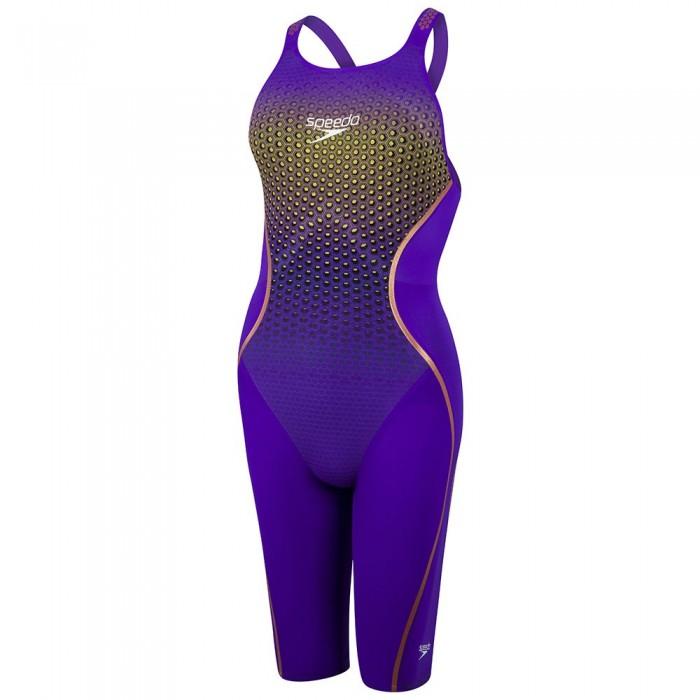 [해외]스피도 Fastskin LZR Pure Intent Open Back Kneeskin 6137451721 Violet/Fluo Yellow/Black/Rose Gold