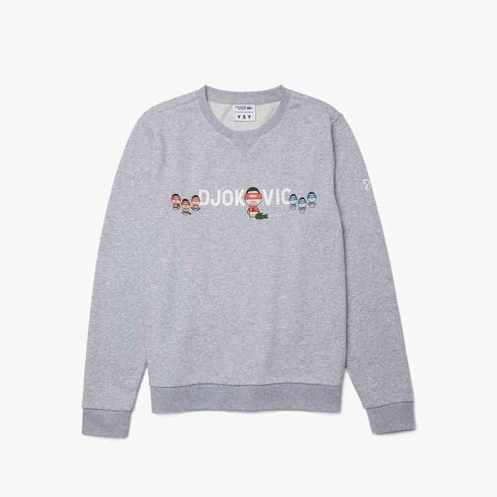 [해외]라코스테 Sport Novak Djokovic Crew Unbrushed Cotton Blend 12137685256 Grey Chine / White