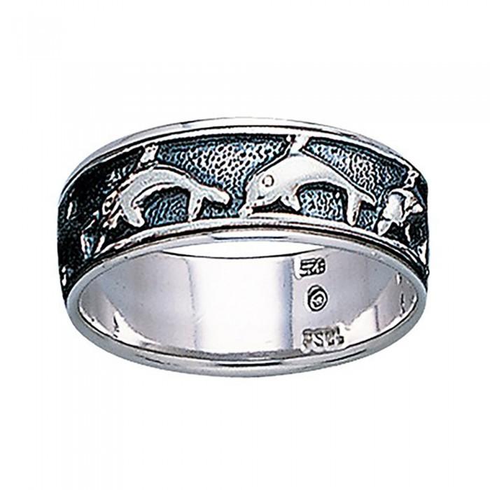 [해외]DIVE SILVER Dolphins Alliance Ring 10137681354 Silver / Black