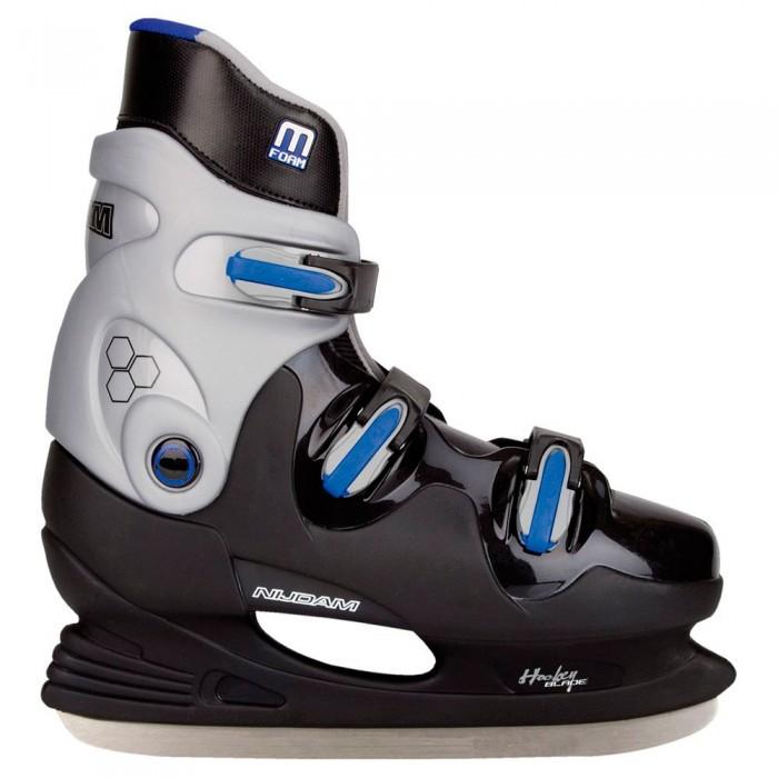 [해외]NIJDAM Ice Hockey Hardboot 14137797630 Black / Silver / Blue