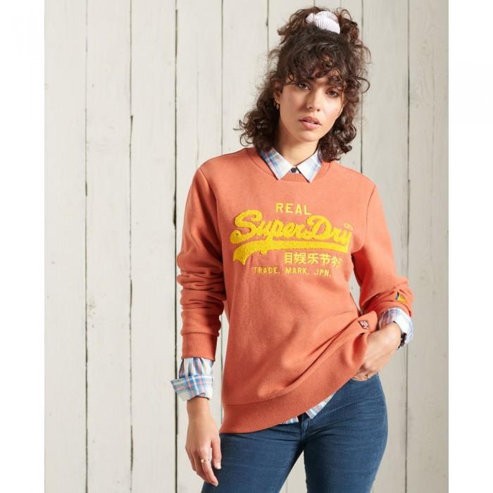 [해외]슈퍼드라이 Vintage Logo Chenille Crew Rust Orange Marl