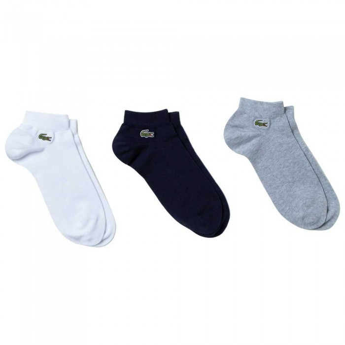 [해외]라코스테 Sport Low Cut Cotton 3 Pair 7137944654 Argent Chine / Marine-Blanc