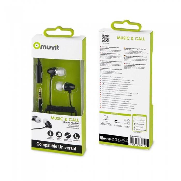 [해외]MUVIT Stereo Headphones With Microphone And 3.5 mm Adapter 7137552816 Black