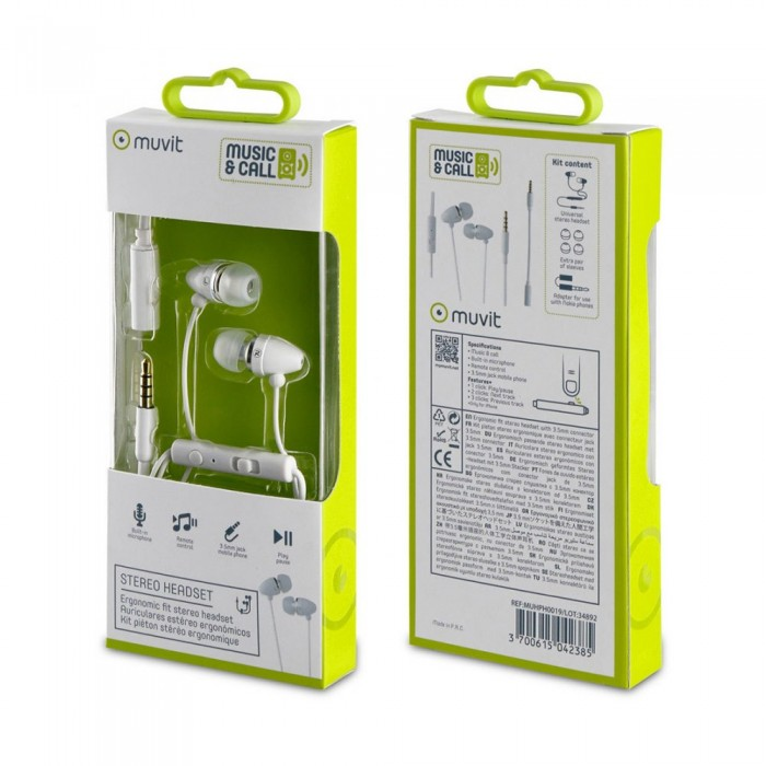 [해외]MUVIT Stereo 3.5 mm Headphones With Microphone And 3.5 mm Adapter 7137552817 White