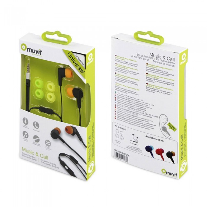 [해외]MUVIT Flat Cable Stereo 3.5 mm Headphones With Microphone 7137552818 Black / Orange