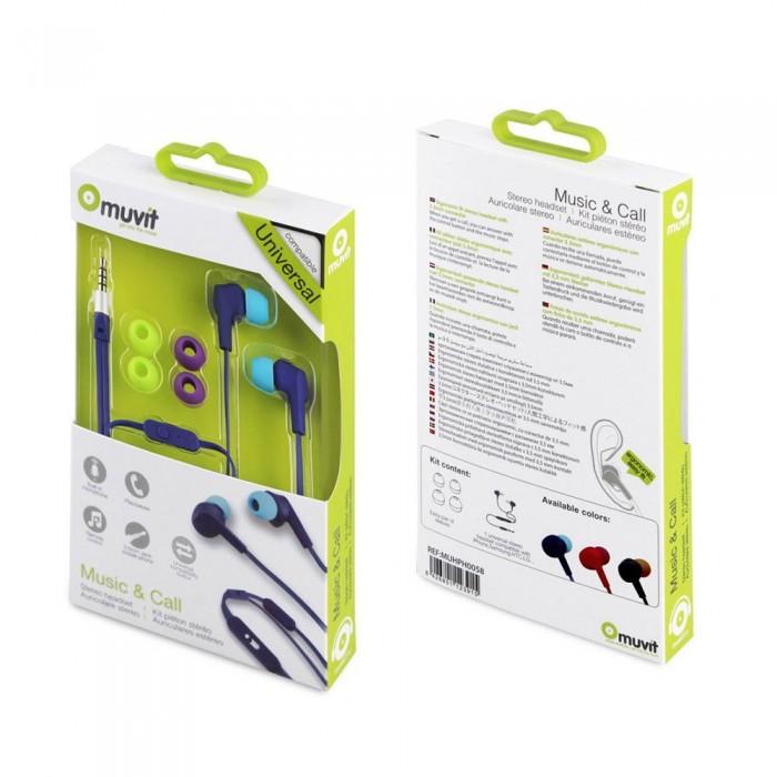 [해외]MUVIT Flat Cable Stereo 3.5 mm Headphones With Microphone 7137552819 Blue