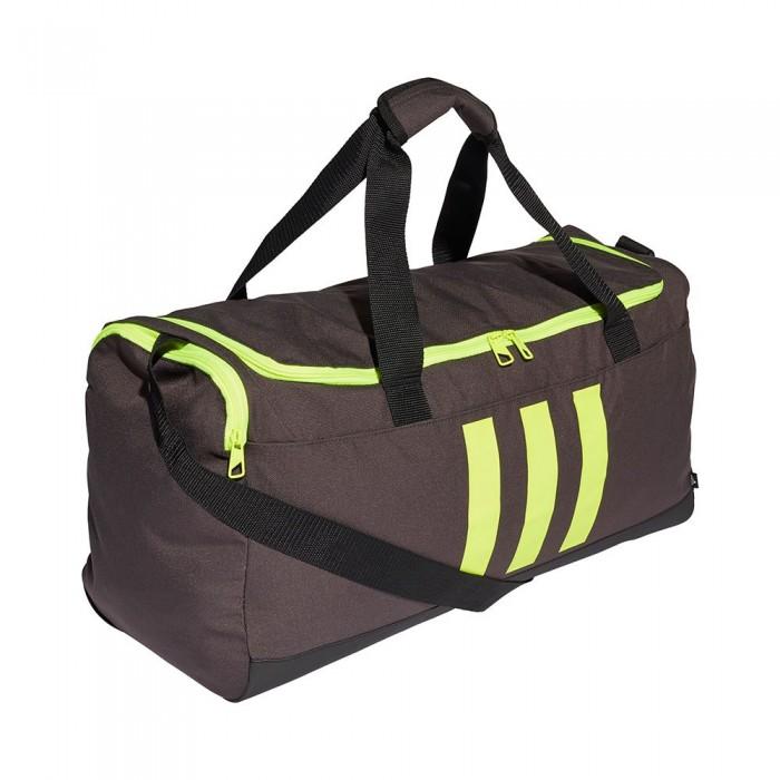 [해외]아디다스 Essentials 3-Stripes Duffel 39L 6137894482 Dgh Solid Grey / Black / Solar Yellow