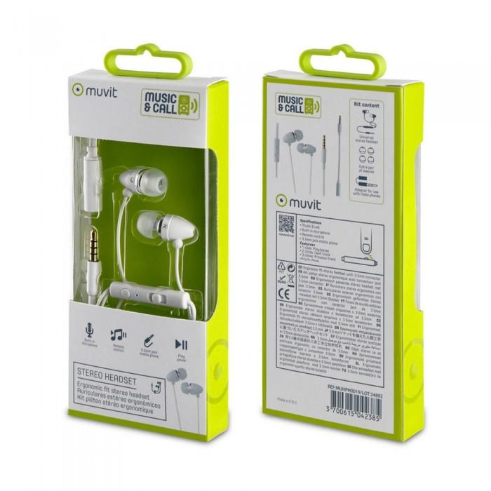 [해외]MUVIT Stereo With Microphone And 3.5 mm Adapter 14137552817 White