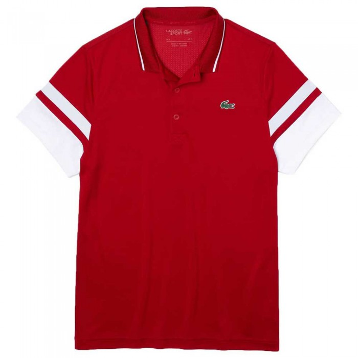 [해외]라코스테 Sport Striped Sleeves Breathable Piqu? 7137944550 Rubis / Blanc