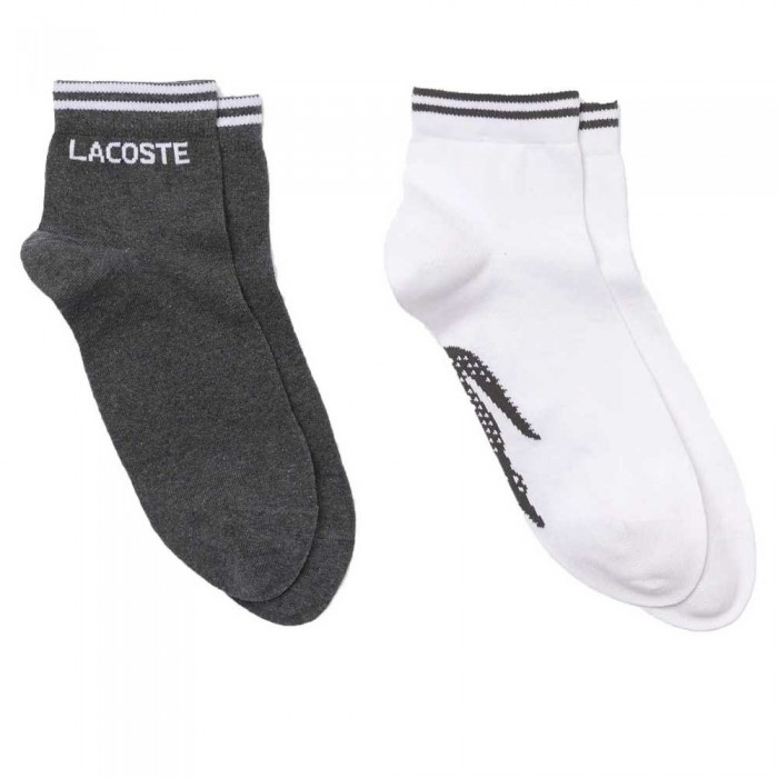 [해외]라코스테 Sport Cotton 2 Pair 12137944653 Bitume Chine / Blanc