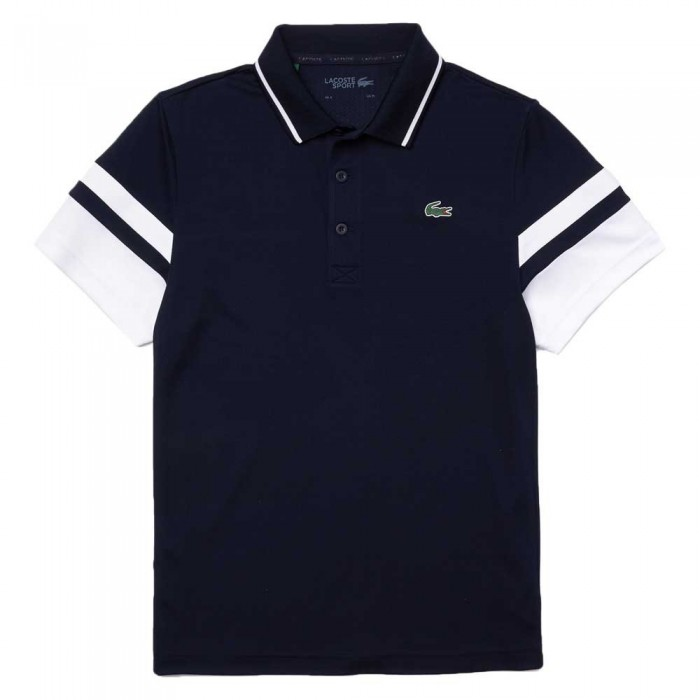 [해외]라코스테 Sport Striped Sleeves Breathable Piqu? 12137944549 Marine / Blanc