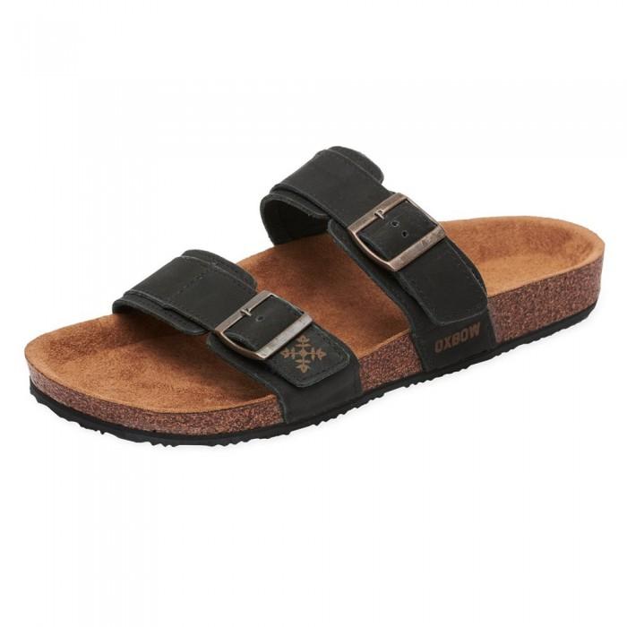 [해외]OXBOW Verak Double Strap Open Toe With Buckle Flip Flops 14137928407 Noir