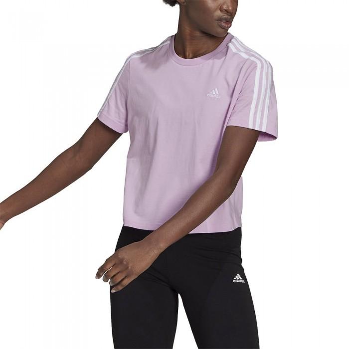 [해외]아디다스 Essentials Loose 3-Stripes Cropped 7137926371 Clear Lilac / White