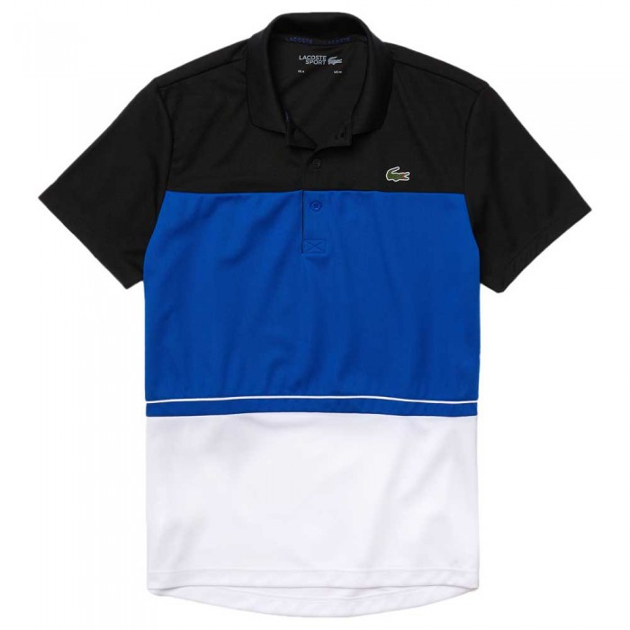 [해외]라코스테 Sport Lettered Breathable ColorBlock Short Sleeve Polo Shirt 12138094279 Black / Lazuli / White
