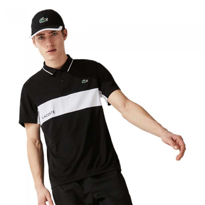 [해외]라코스테 Sport ColorBlock Breathable Short Sleeve Polo Shirt 12138094285 Black / White / Black