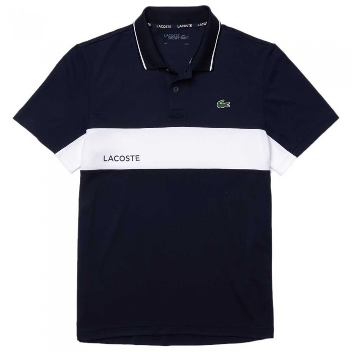 [해외]라코스테 Sport ColorBlock Breathable Short Sleeve Polo Shirt 12138094286 Navy / White / Navy