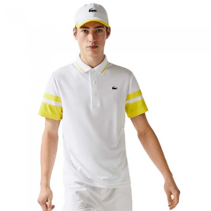 [해외]라코스테 Sport Striped Breathable Piqu? Short Sleeve Polo Shirt 12138094289 White / Ananas