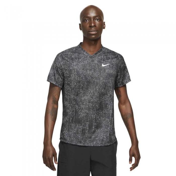 [해외]나이키 Court Dri Fit Victory Printed Short Sleeve T-Shirt 12138031412 Black / Black / White
