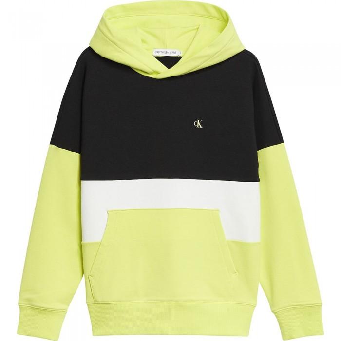 [해외]캘빈클라인 JEANS Colorblock Logo Hoodie 15137937213 Yellow Lime